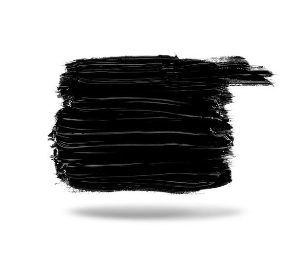 Streicht schwarze farbe auf weißem hintergrund