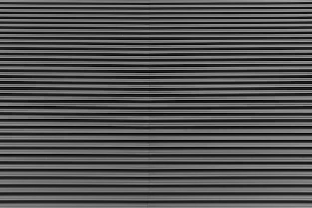 Streifenmuster auf grauem metalloberflächenhintergrund. vorderansicht, architekturoption.