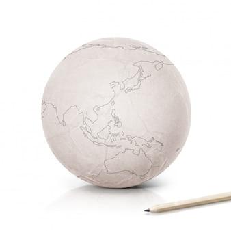 Strich asien & australien karte auf papierkugel auf weiß