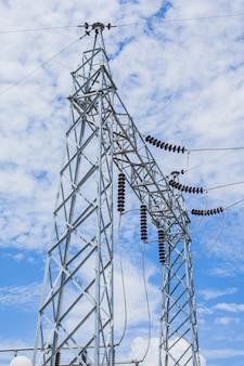 Strompfosten mit klarem blauem himmel