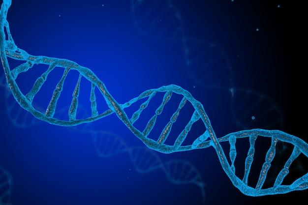 Struktur-netz der 3d-dna-moleküle auf blauem hintergrund. wissenschafts- und technologiekonzept