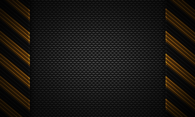 Strukturiertes materielles design des abstrakten schwarzen kohlenstoffs mit warnendem band