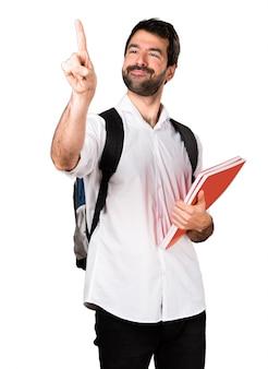 Student mann berühren auf transparenten bildschirm