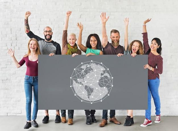 Studenten, die ein netzwerkgrafik-overlay-banner halten