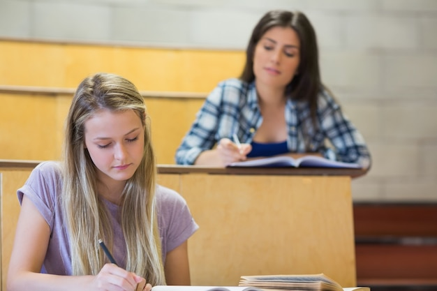 Studenten, die nebeneinander beim lernen in der universität sitzen