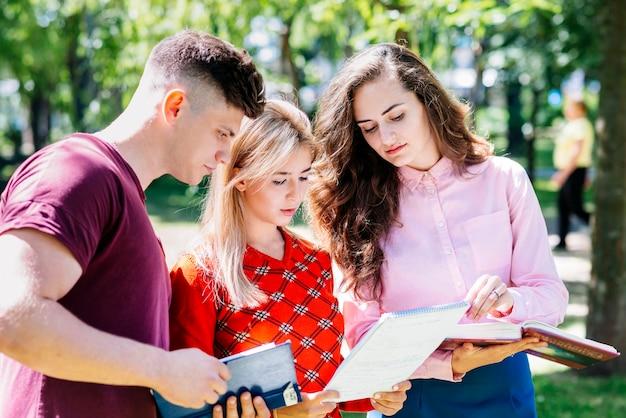 Studenten, die über aufgabe im park sprechen