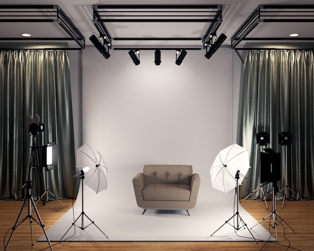 Studio big - modernes filmstudio mit weißem bildschirm. 3d-rendering