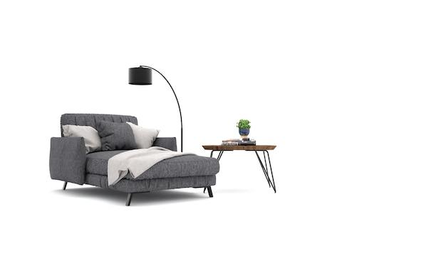 Studio mit sessel und dekorationen. 3d-rendering
