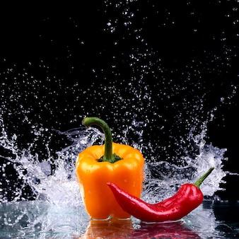 Studioaufnahme mit frostbewegung von paprika im wasserspritzer