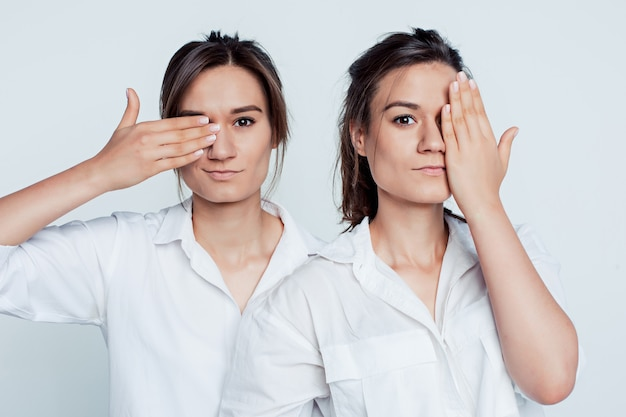 Studioporträt der jungen weiblichen zwillingsschwestern auf grau