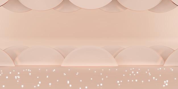 Studioszene roségoldener hintergrund luxus funkelnde 3d-illustration