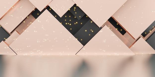 Studioszenengeometrie rosa goldhintergrund luxus funkelnde 3d-darstellung