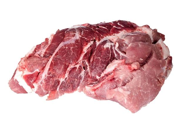 Stück frisches rohes fleisch auf weißem hintergrund