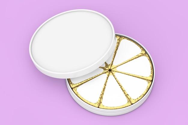 Stück käse in goldener folie und weißes leeres etikett mit freiem platz für ihr design mit leerer weißkäse-box auf violettem hintergrund. 3d-rendering