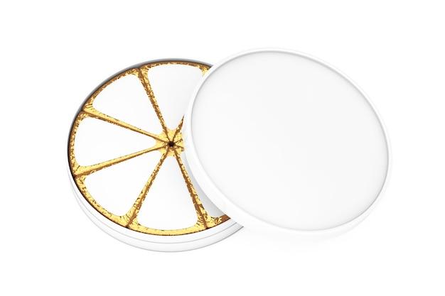Stück käse in goldfolie und white blank label mit freiem platz für ihr design mit blank white cheese box auf weißem hintergrund. 3d-rendering