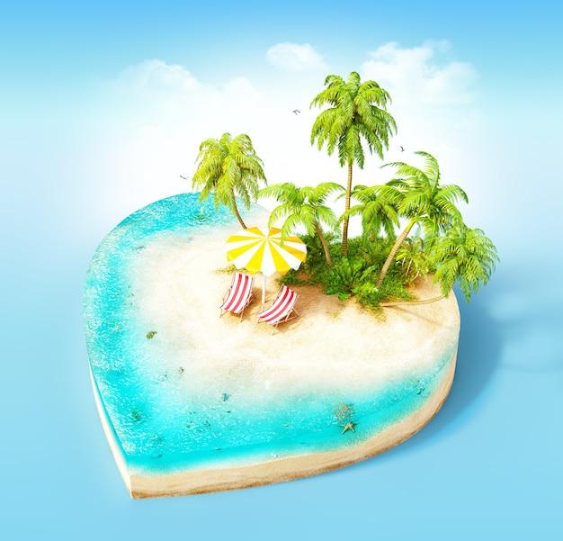 Stück tropische insel mit wasser, stühlen, regenschirm und palmen auf einem strand im querschnitt in form des herzens