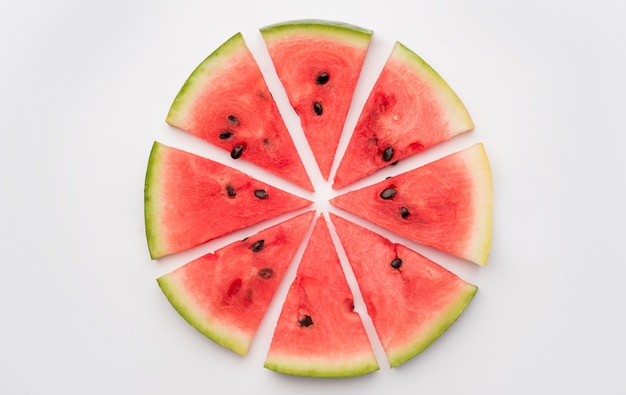 Stücke der wassermelone im kreis