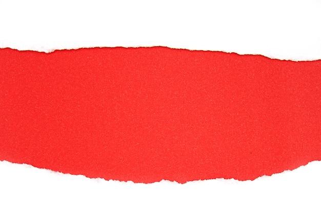 Stücke rotes heftiges papier, zerrissenes papier als hintergrund lokalisiert auf weiß