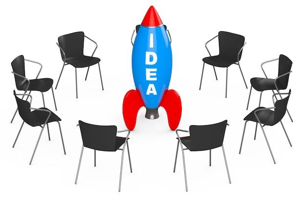 Stühle rund um rocket mit idee-zeichen auf weißem hintergrund. 3d-rendering
