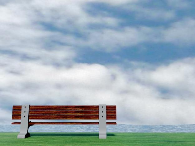 Stuhl auf gras mit blauem wasserfluß des hintergrundes, wasseroberfläche mit kräuselungen, wiedergabe 3d