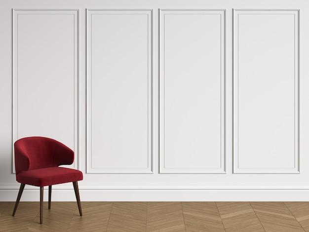 Stuhl im klassischen innenraum mit kopienraum. weiße wände mit leisten. boden parkett fischgrät. 3d-rendering