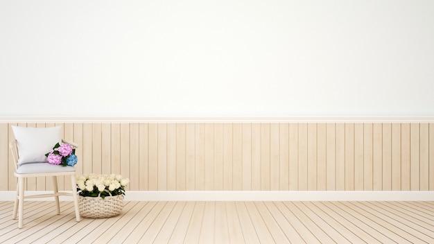 Stuhl mit blume im wohnzimmer oder in der kaffeestube - wiedergabe 3d