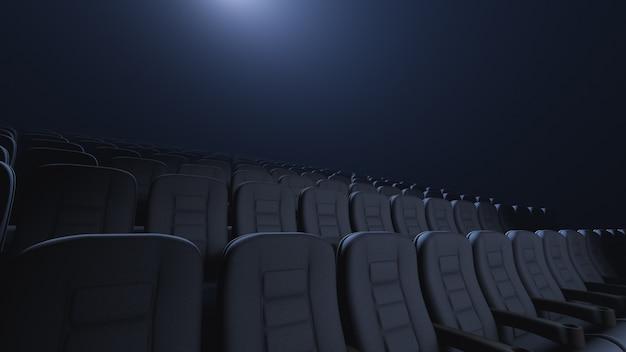 Stuhlreihen in einem dunklen auditorium