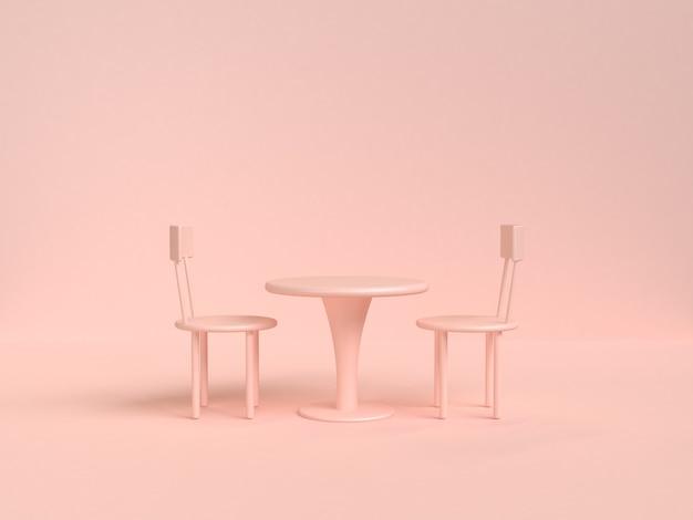 Stuhltischabstrakter weicher rosa-sahne hintergrund 3d-rendering-objekt küchenkonzept