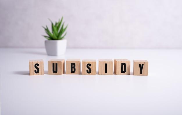 Subvention - das wort auf holzwürfeln auf weiß.