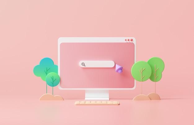 Suchleisten-webseite auf rosa hintergrund
