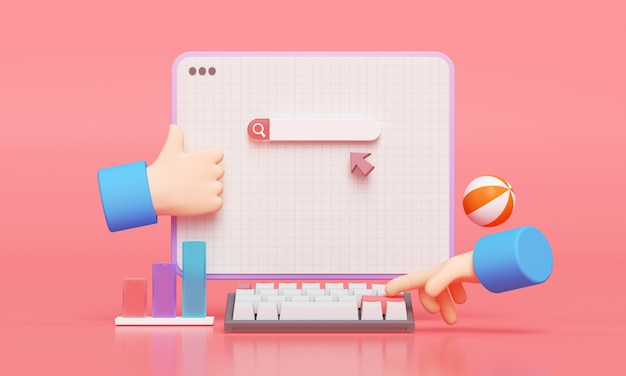 Suchleisten-webseite. hand tippen für die suche auf web-suchkonzept. 3d-rendering