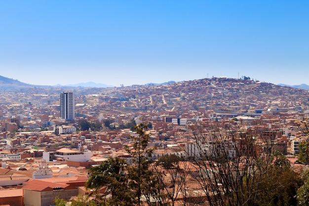 Sucre luftbild, bolivien. bolivianisches wahrzeichen
