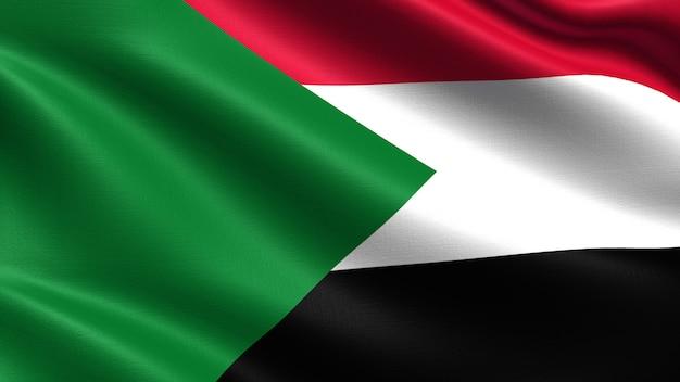 Sudan-flagge, mit wehender gewebebeschaffenheit