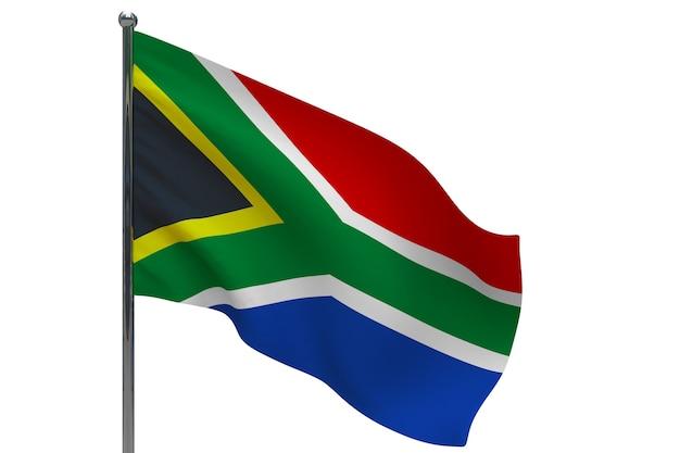 Südafrika flagge auf pole. fahnenmast aus metall. nationalflagge von südafrika 3d-illustration auf weiß
