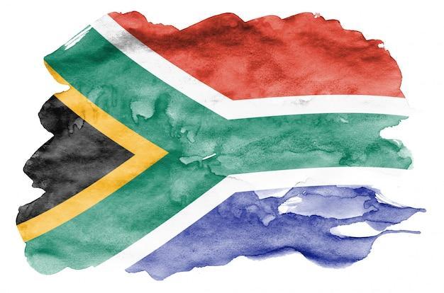 Südafrika-flagge wird in der flüssigen aquarellart dargestellt, die auf weiß lokalisiert wird