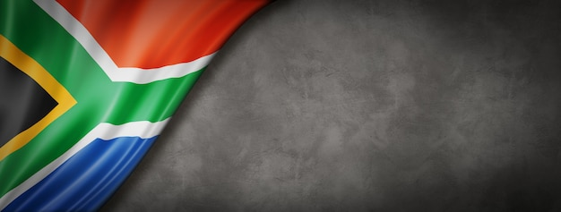 Südafrikanische flagge auf betonwand