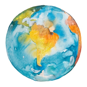 Südamerika auf der welt. erdplanet. aquarell.