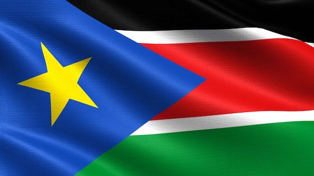 Südsudan flagge, mit wehenden stoff textur