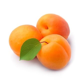 Süße aprikosen isoliert auf weiß