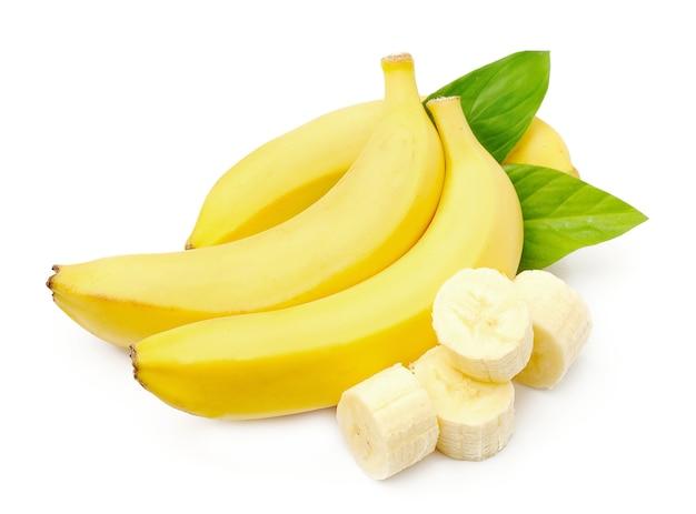 Süße bananen mit blättern