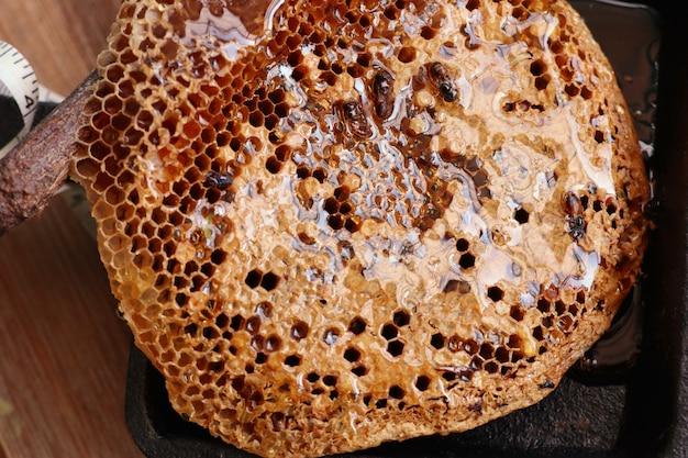 Süße bienenwabe und honig