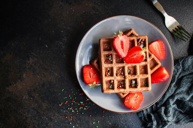 Süße dessertportionsgröße der belgischen waffeln