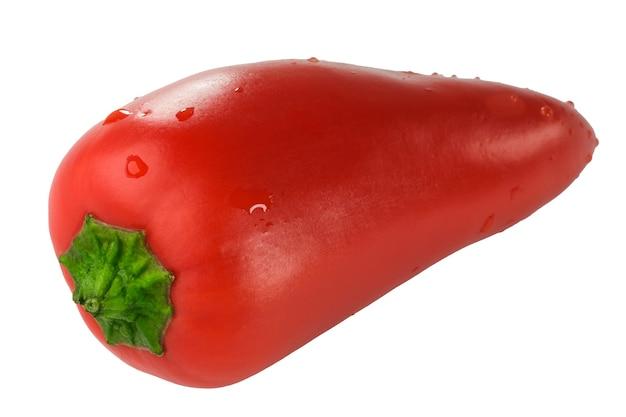 Süße rote paprika nahaufnahme isoliert auf weißem hintergrund