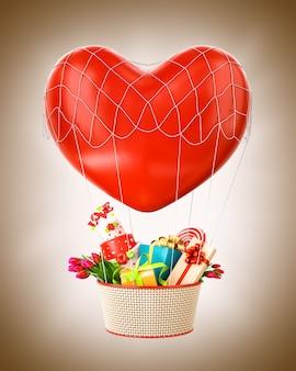 Süßer heißluftballon mit einem korb voller geschenke und süßigkeiten ungewöhnliche valentinstagsillustration
