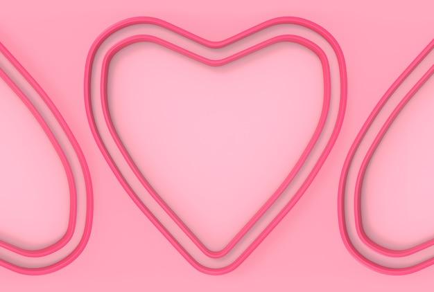 Süßer rosa herzformrahmen-wandhintergrund.