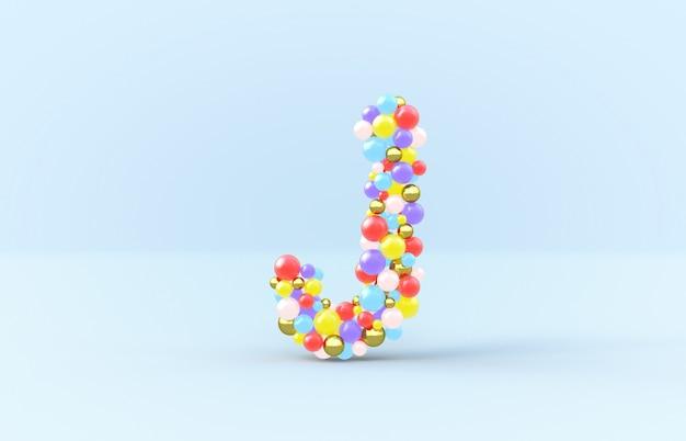 Süßer süßigkeitskugelbuchstabe j
