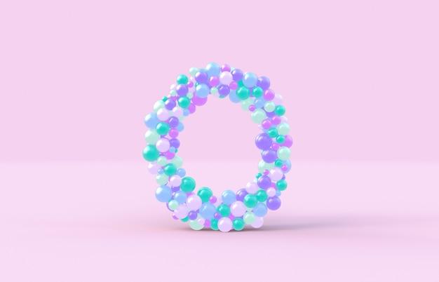 Süßer süßigkeitskugelbuchstabe o