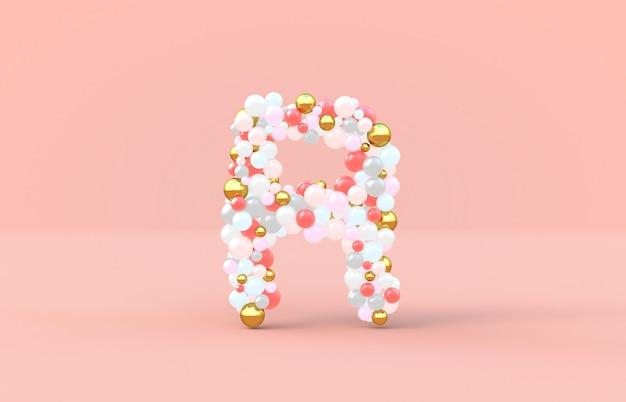 Süßer süßigkeitskugelbuchstabe r