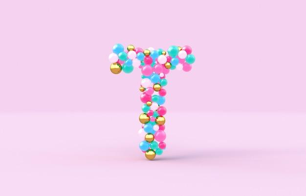 Süßer süßigkeitskugelbuchstabe t