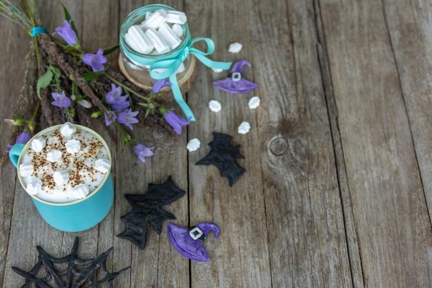 Süßes getränk für halloween draufsicht